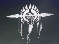 Bear Claw Doube Spear and Eagle Feather Decal